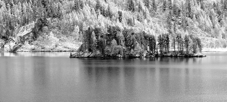 Island in the Lake Sils near Isola.